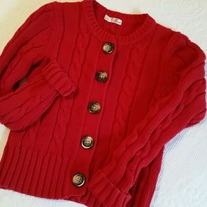 Old Navy Cable Knit Red Cardigan